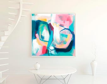 Acrylic wall art giclee PRINT, large abstract painting colorful print, abstract modern wall decor, blue white modern contemporary abstract