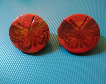 Handmade polymer clay butterfly earrings