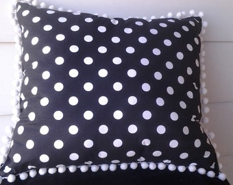 CLEARANCE!!! Black with white polka dots pillow with white ball trim
