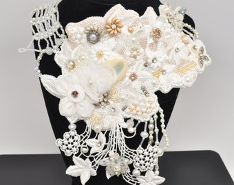 """Bridal Bead Embroidery Statement Necklace Handmade OOAK - """"Edelweiss"""""""