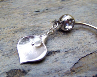 Calla Lily Belly Ring Flower Bellybutton Ring Belly Button Jewelry Body Jewelry Navel Ring