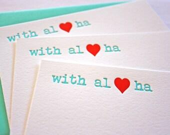 Letterpress Cards With Aloha Heart