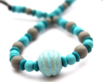 Fiddle necklace, babywearing necklace, nursing necklace, breastfeeding beaded necklace, unique, turquoise and grey