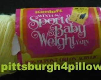 Kenloft - Wintuk - Sport & Baby Weight - Some Yarn Missing Price Fixed - 2.4 Ozs- #25 Baby Yellow - Dye Lot 0103 - 100% Dupont Orlon Acrylic