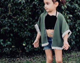 Army green kimono/baby kimono/ toddler kimono/ bathing suit cover up