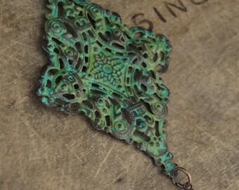 Patina Jewelry Medallion Necklace Sturdy Boho Jewelry Tribal Jewelry Hippie Jewelry Bohemian Jewelry Boho Tribal Hippie Bohemian Necklace