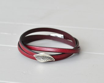 Leather Leaf Bracelet, Wine Leather Bracelet, Burgundy Leather Bracelet, Spring Leaf Jewelry