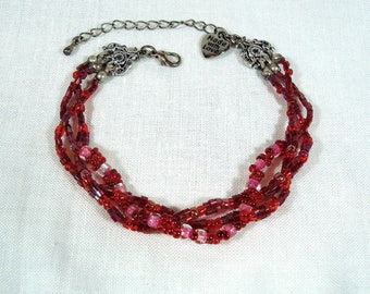 Braided Bead Bracelet - Red