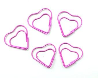 5 rosa cuore a forma di graffetta / clip planner