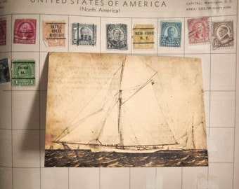 Sailboat, Tennyson Quote Notecard - Blank 4x5.5 Note Card, Single or Set of 4 - Sepia Brown Antique Vintage Nautical