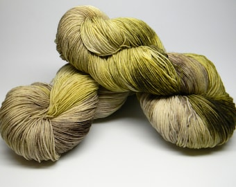 Barefoot in August - Jitterbug Monkey BFL fingering sock weight kettle dyed sock yarn shawls sweaters grassy green beige taupe sand
