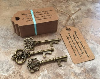 """Skeleton Key BOTTLE OPENERS + """"Poem"""" Thank-You Tags – Wedding Favors set of 75 - Ships from United States - Antique Bronze - Mixed Styles"""