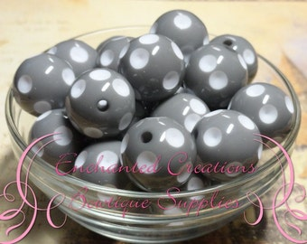 20mm Grey With White Dip Polka Dots Qty 10, Chunky Beads, Bubblegum Beads, Gumball Beads, Chunky Jewelry Beads, Acrylic Beads