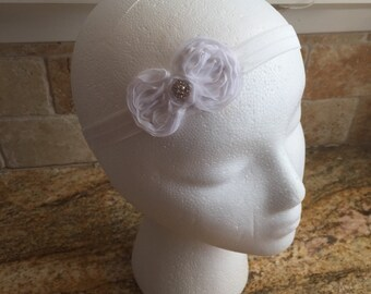 Small White Flower Hair Bow Headband, Newborn Headband, Girls Headband, Baby Girl Hair Bow Headband, Infant Girl Headband, Wedding Headband