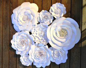 Set of 9 white paper flowers for backdrop, home decor, party decoration