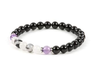 Black Tourmaline Bracelet, Tourmalinated Quartz Natural Gemstone Bracelet, Gemstone Bracelet, Handmade Jewelry, Gemstone Jewelry