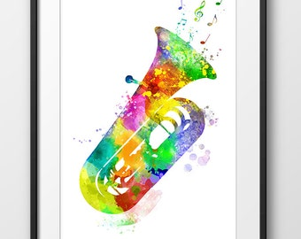 Tuba Print, Tuba Watercolor Poster, Music Art Print, Music Wall Art, Music Instrument Poster, Tuba Decor, Tuba Art (A0447)