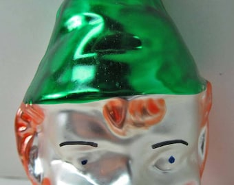 "Glass 644 Ornament Leprechaun 3-1/2"" Inge Glas W Germany Vintage Christmas Irish"