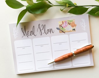 Meal Plan Notepad - planner notepad - meal planning pad - menu planner - food grocery notepad - hand lettered notepad - menu notepad - S2002