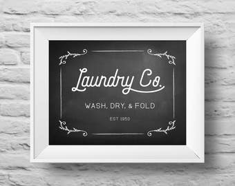 LAUNDRY CO. Wash Dry Fold unframed Typographic poster, inspirational print, laundry decor, laundry room print, laundry quote art. (R&R0162)