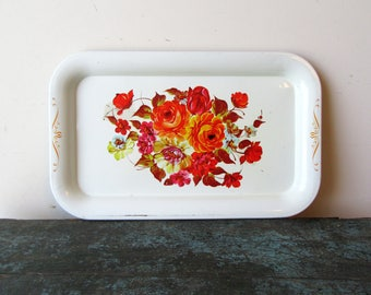 Vintage Tole Tray, Metal Lithograph Serving Tray, Shabby Chic Floral Tray, SALE