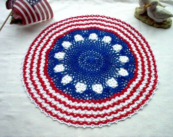 Patriotic Americana Crochet Thread Art Doily New Handmade