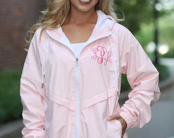 Monogrammed Rain Jacket Personalized Bridesmaids Gifts (One Monogrammed Location) - Ladies Full Zip Rain Jacket - Ladies Monogrammed Jacket