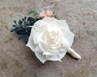 Ready to Ship Boutonniere Ivory Daliah Sola Wood Flower Dried flowers Preserved Eucalyptus Pink