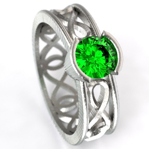 Celtic Emerald Ring With Infinity Symbol Design in Sterling Silver, Made in Your Size CR-1027