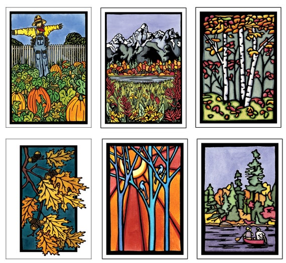 Autumn Color Collection - 6 Blank Greeting Cards - Pumpkin Patch, Tetons, Autumn Woods, Oak Leaves, Birds, Canoe