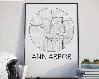 Ann Arbor, Michigan Minimalist City Map Print