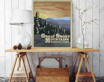 Great Smoky Mountains, National Park Poster, National Park Canvas, Canvas Print, Vintage Poster Print, Vintage Style, Poster Style, Smoky