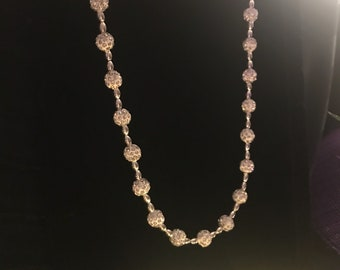 Delicate beaded necklace embellished with clear chrystals  beautiful alone, or with another similar