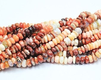 "14"" natural mexican opal 9-10mm smooth polished rondell beads"