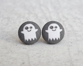 Ghost Fabric Button Earrings