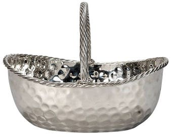 Mid-Century Hammered Nickel Plated Basket [6709]