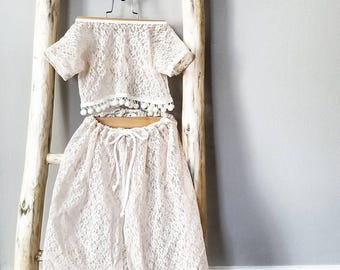 Flowy front slit lace skirt & cropped top/ skirt /cover up/bathing suit/ baby swim suit/ crop top/ pom pom/lace outfit/ maxi skirt/beachwear