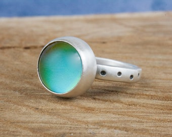 Mood Ring. funky handmade sterling silver color changing jewelry. mood stone ring. Trendy Statement Ring