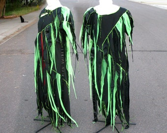 Toxic  Zombie Plus Size - Black neon green lime tatters XXL 3X 4X Custom ooak Dress upcycled clothing Adult Halloween Costume unique