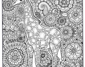 Patterned Giraffe Coloring Page - Worksheet & Coloring Pages