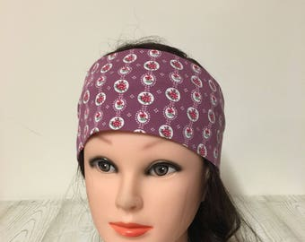 Headband cotton jersey Light purple with small Rösschen 55-62 cm