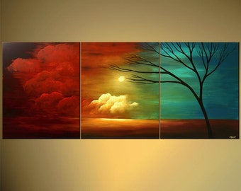 """Landscape Abstract Contemporary Tree Painting  Turquoise, Red, Sunset by Osnat - MADE-TO-ORDER - 72""""x30"""""""