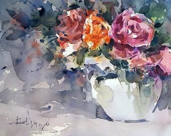 Full Bloom Roses : Original Watercolor Painting