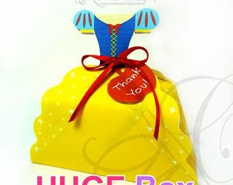 Snow White Dress Inspired - HUGE favor box, Printable Favor Box, princess party favor