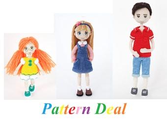 Pattern Deal - Doll EVA, Doll Anita and Doll Boy Steve, amigurumi crochet doll, crochet doll pattern, amugurumi pattern