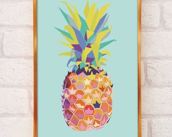 Pineapple Print A4 or A3 - pineapple decor - pineapple wall art - pineapple poster - pineapples - pineapple art - pineapple home decor