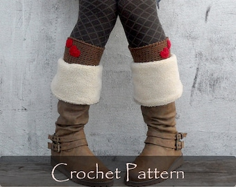 CROCHET PATTERN - Valentine Boot Toppers Warm Winter Boot Cuffs Instruction Women Heart Love Socks Diy Crochet Warmers Boot Tops PDF - P0061
