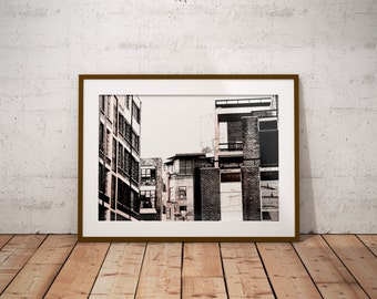 London Buildings, Black And White Architecture, Urban, Rustic, Contrast, Giclee Print