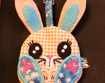 Small zip bunny shaped purse in beige with blue highlights // Easter bunny blue purse