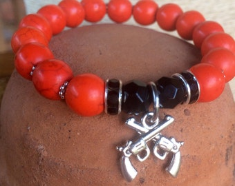 Oklahoma State themed stretch bracelet. #PistolsFiring charm yoga bracelet with orange howlite, black jade beads and metal charm